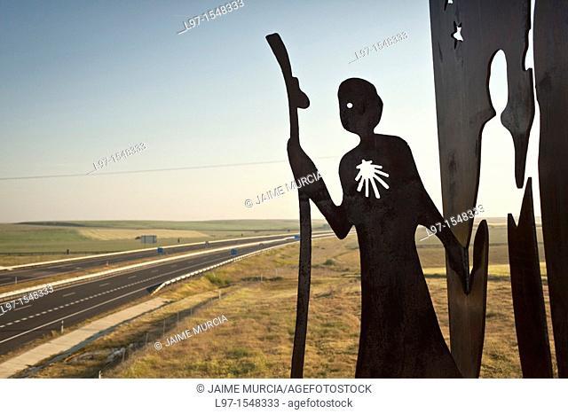 Metal sculpture near highway along the Camino de Santiago