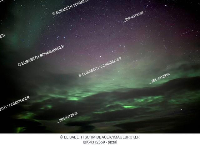 Northern lights in winter, in Borgarnes, Snaefellsnes peninsula, Iceland