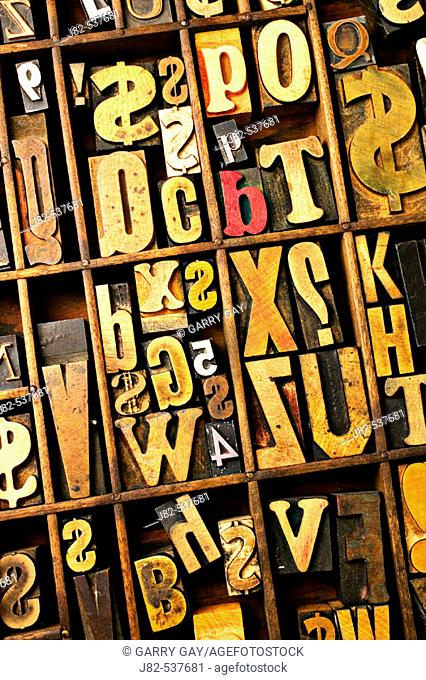 Box of old wooden type setting blocks