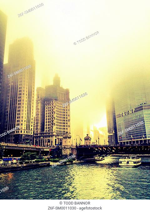 Chicago River on a foggy afternoon