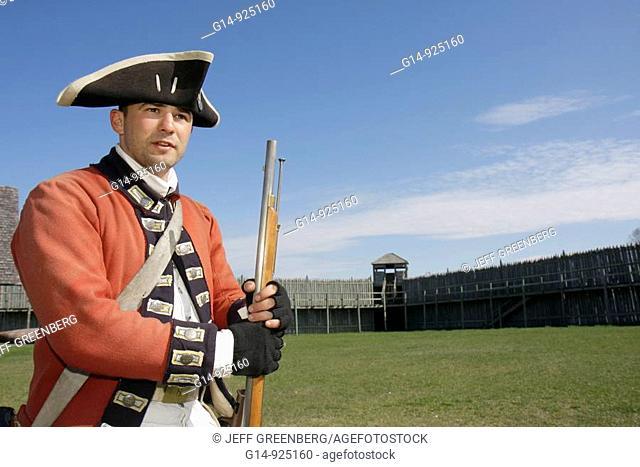 Michigan, Mackinaw City, Mackinac State Historic Parks Park, Colonial Michilimackinac, Musket Demonstration, man, soldier, uniform, 18th century, history