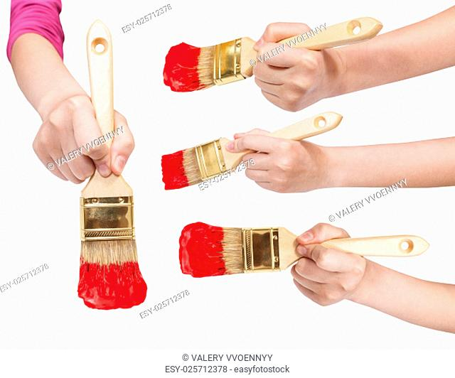 set of painter hands with flat paint brushes with red painted tips isolated on white background