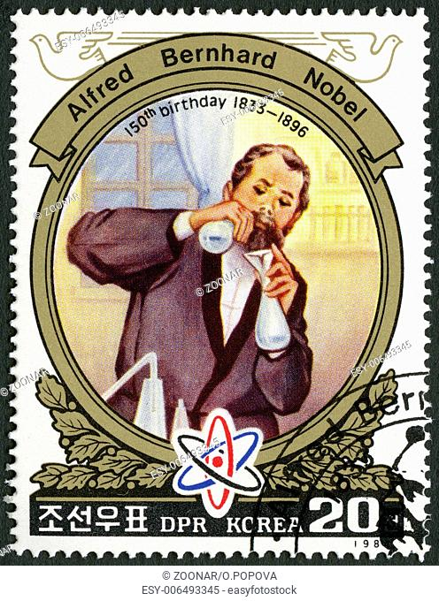 NORTH KOREA - 1984: shows Alfred Bernhard Nobel (1833-1896) in laboratory, 150th Anniversary Birth