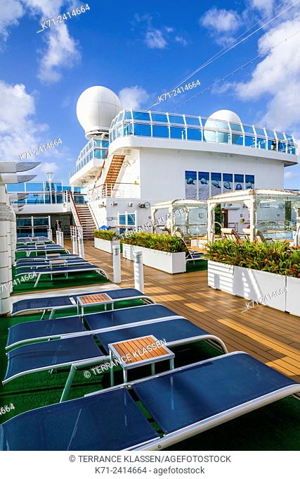 A view of the pool deck on the Regal Princess cruise ship