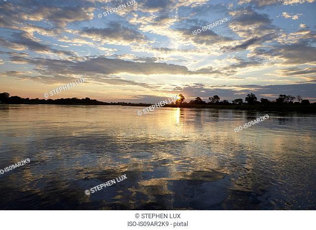 Sunset over Okavango River, Rundu, Caprivi, Namibia