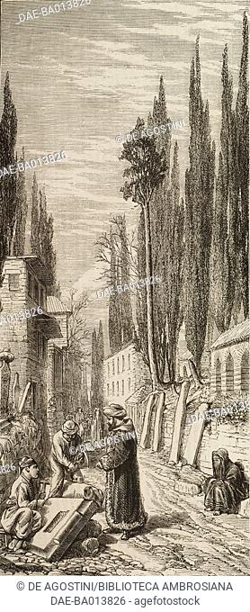 Making tombstone at the entrance to the Turkish cemetery at Scutari (Uskudar), Istanbul, Turkey, illustration from the magazine The Graphic, volume XIII, no 335