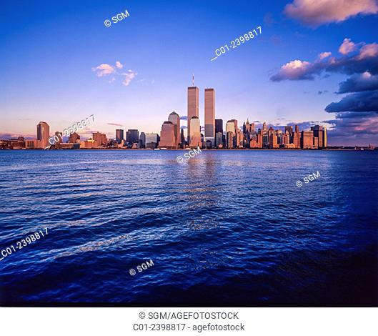 Financial district Manhattan skyline and Hudson river at sunset prior to September 11 2001 New York City NY USA