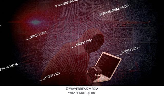 Digital composite image of hacker using laptop with thumb print on screen