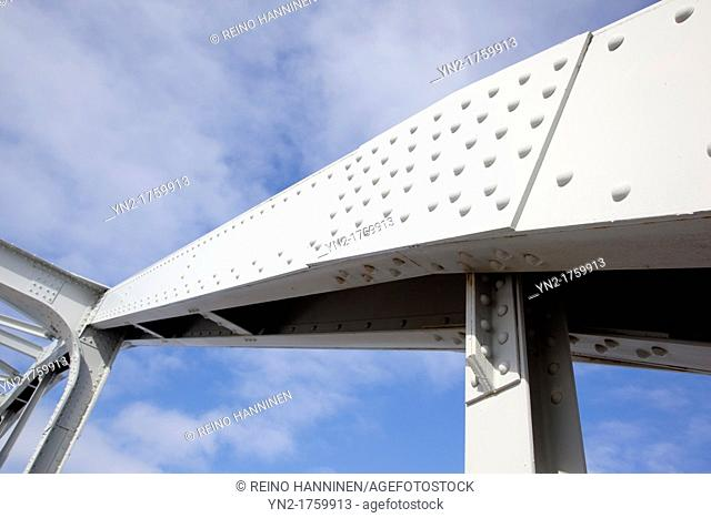 Riveted steel girder used in bridge support structure  Location Kivisalmi Rautalampi Finland Scandinavia Europe