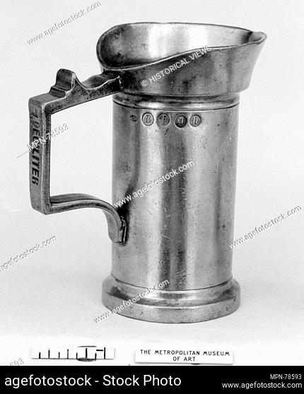 Measure. Date: late 18th-early 19th century; Culture: Dutch; Medium: Pewter; Dimensions: 4 x 2 1/2 in. (10.2 x 6.4 cm); Classification: Metalwork-Pewter; Credit...