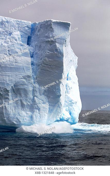 Waves breaking under a tabular iceberg in the Weddell Sea off the east coast of the Antarctic Peninsula