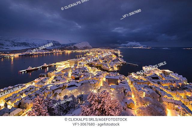 Winter night cityscape at Alesund, Vestlandet, More og Romsdal county, Norway, Europe