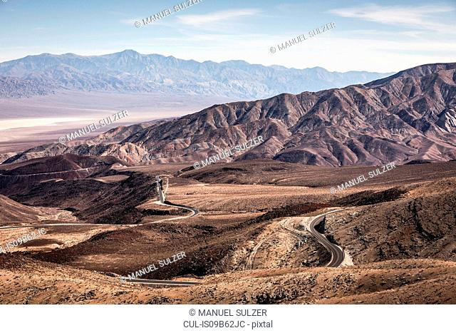 Landscape with winding road in Death Valley National Park, California, USA