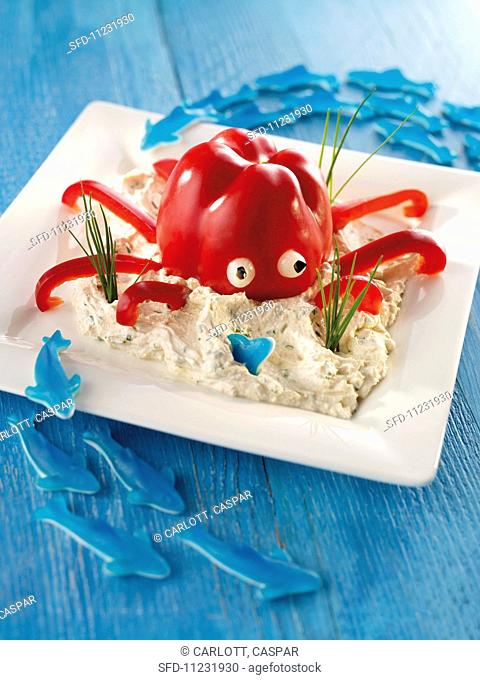 A pepper octopus with dip