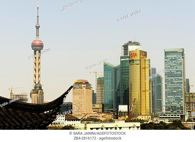 View of Pudong Business District from Old Town, Hangpu District, Shanghai, China, Asia