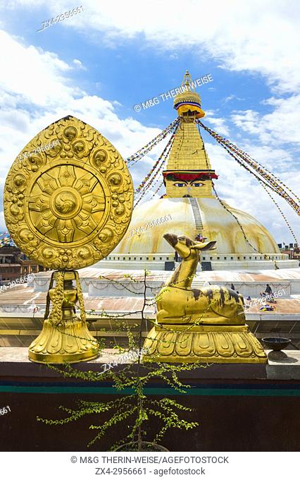 Deer symbolizing harmony, happiness, peace and longevity, Boudhanath Stupa, Largest Asian Stupa, Unesco World Heritage Site, Kathmandu, Nepal, Asia