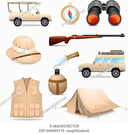 Safari icons for savanna hunting with tourist ammunition isolated vector illustration