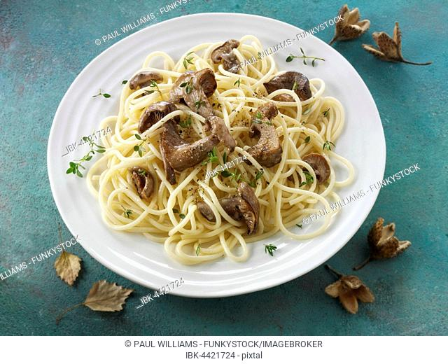 Sauteed wild organic Pied Bleu Mushrooms (Clitocybe nuda) or Blue Foot mushrooms cooked in butter with spaghetti