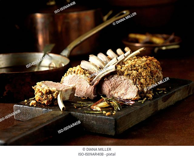 Carved rack of lamb and cutlets