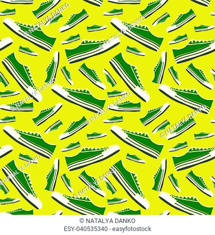 green sneakers of different sizes on a yellow background, seamless pattern