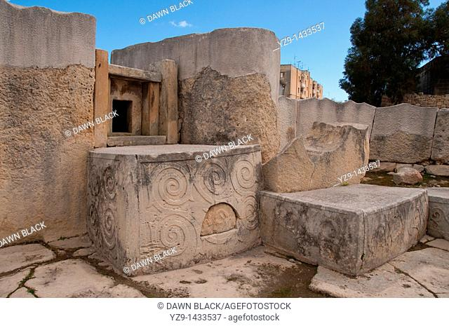 Apse 1 in the Neolithic Tarxien Temple, Malta