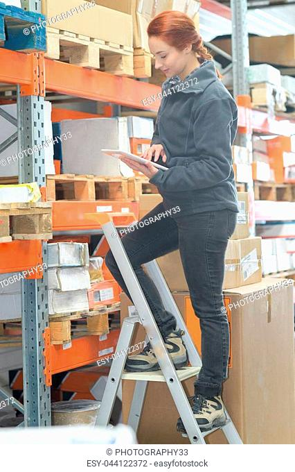 female worker using a tablet in warehouse office