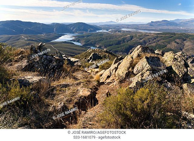The Atazar reservoir from Cabeza Antón in the Sierra Norte Madrid Spain