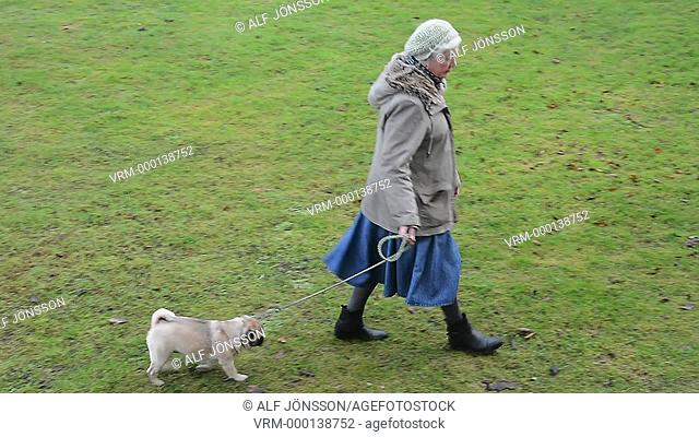 Old woman with pug