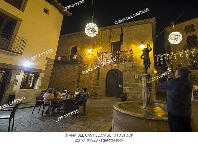 Christmas time in Rubielos de Mora in Teruel Aragon Spain. The town hall
