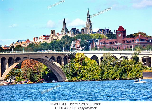 Key Bridge Potomac River Georgetown University Washington DC from Roosevelt Island Completed in 1923 this is the oldest bridge in Washington DC