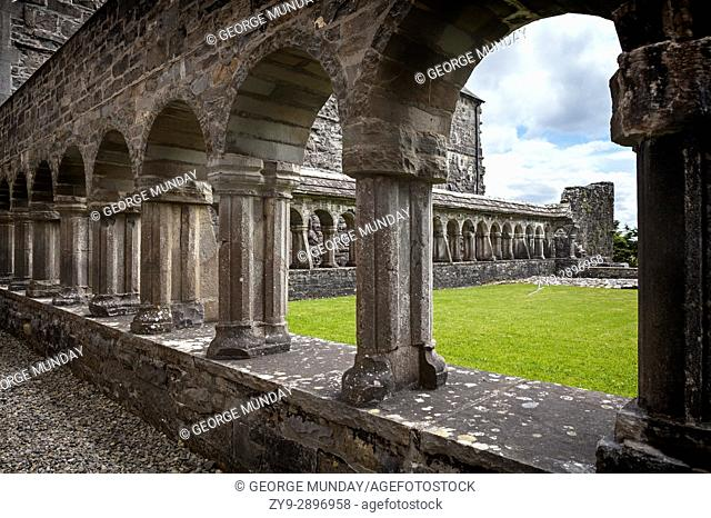 The 15th Century Cloisters on the monastic site at Ballintubber Abbey. It that was founded by King Cathal Crobdearg Ua Conchobair in 1216