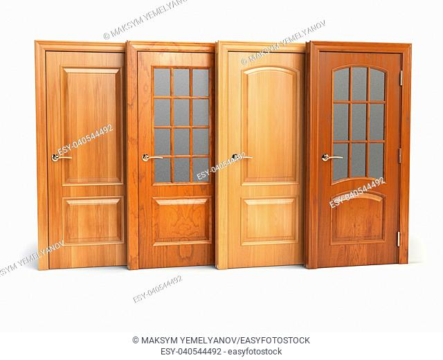 Sale of wooden doors isolated on white. Interior design or marketing concept. 3d illustration