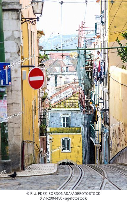 Bica cable car in Bairro Alto in the morning, Lisbon. Portugal