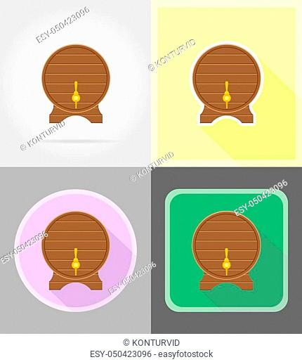 wooden barrel for pirate rum vector illustration isolated on background