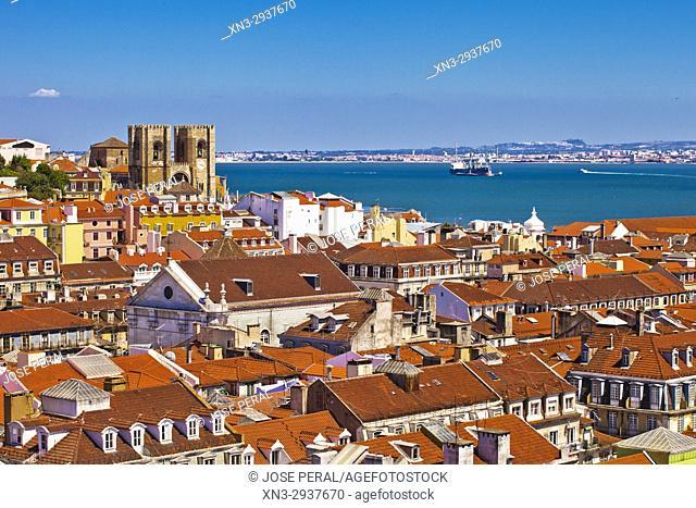 View of Baixa and Alfama from Santa Justa Lift or Carmo Lift, Elevador de Santa Justa, Baixa, Lisbon, Portugal, Europe