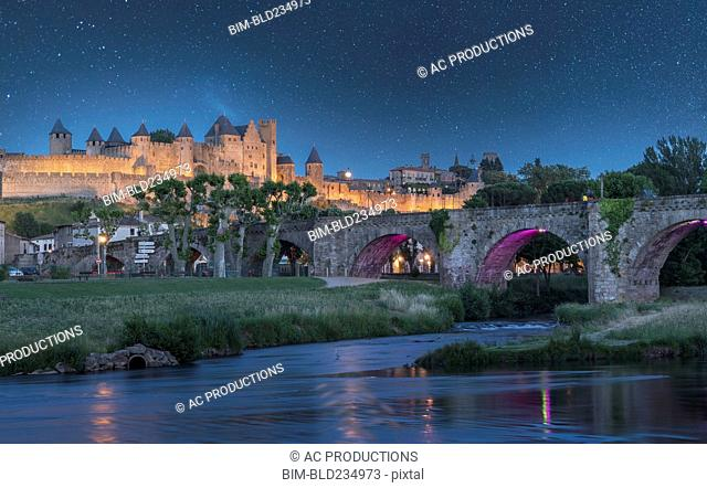Stars at night over fortified city of Carcassonne, Languedoc-Roussillon, France