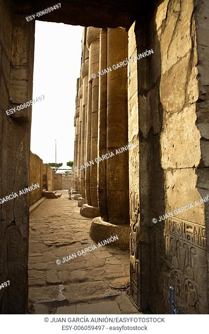 Luxor Temple. columns of the most holy side of this courtyard