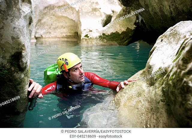 Canyoning in Vero river, Guara mountains, Huesca Province, Aragon in Spain
