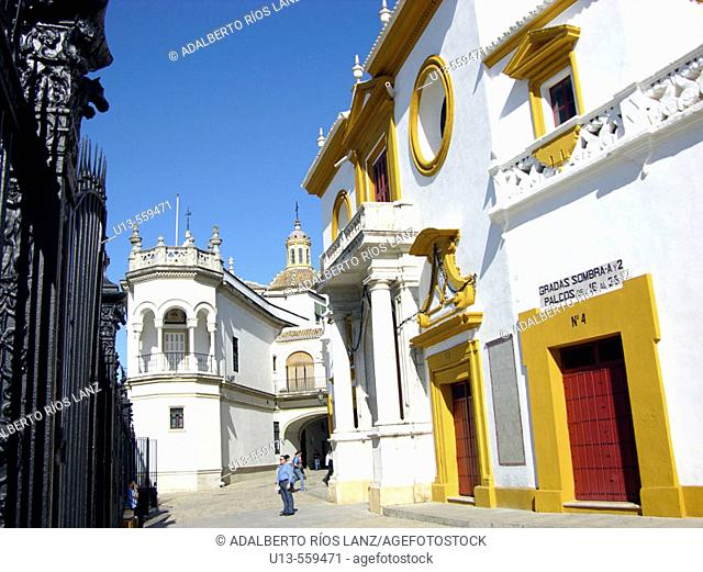 Real Maestranza, the oldest bullring in Spain (18th century, late baroque style) . Seville, Spain