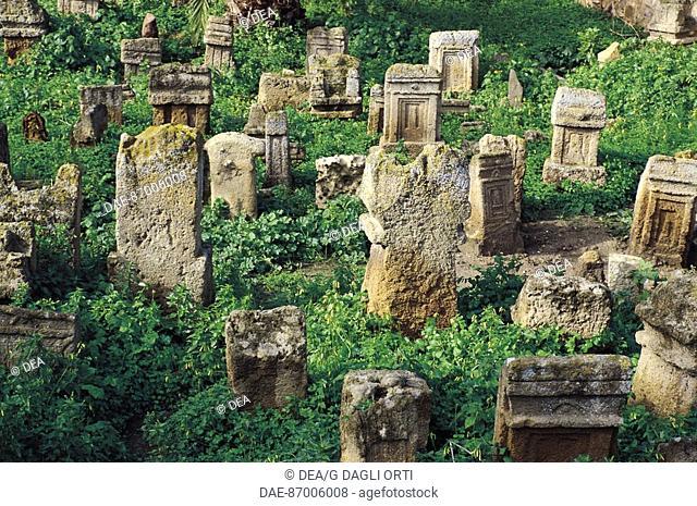 Votive stele, Tophet (sanctuary) Phoenician-Punic Tanit and Baal Hammon, Archaeological Site of Carthage (Unesco World Heritage List, 1979), Tunisia