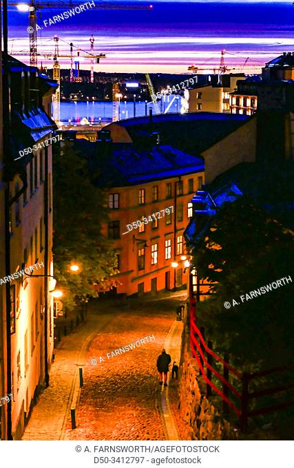 Stockholm, Sweden The city skyline at dawn and Bastugatan