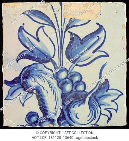 Tile of chimney pilaster, blue on white, below and above continuous part of floral representation with leaves and fruits