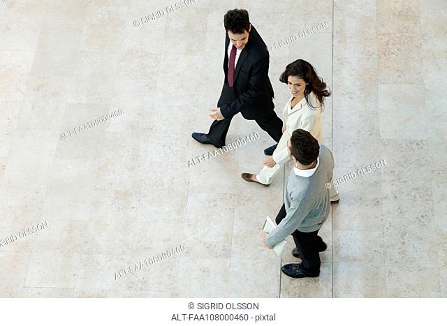 Business associates walking together in office lobby