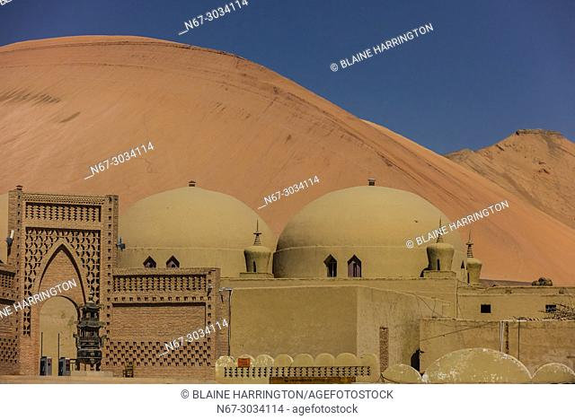 """Adobe (mudbrick) architecture built for the movie """"""""Journey to the West"""""""" near the Bezeklik Thousand Buddha Caves, Flaming Mountains, Turpan, Xinjiang Province"""
