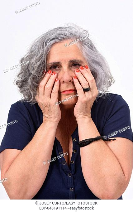 woman with eyes on white background
