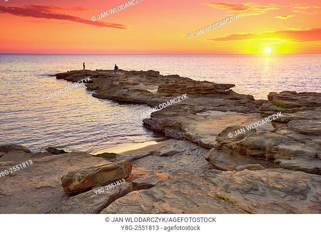 Sunset at the Riviera del Corallo, coast near the Bosa, Sardinia Island, Italy
