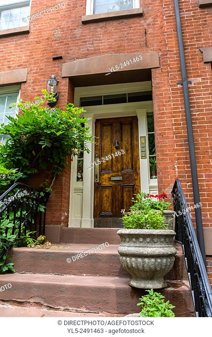 New York City, USA, Street Scenes, Brooklyn heights, Brown stone Apartment Buildings