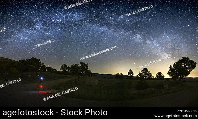 Milky way over Gudar mountains Teruel starlight spot in Spain