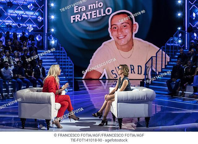 Tv presenter Mara Venier, Ilaria Cucchi, sister of Stefano Cucchi, during the interview at the tv show Domenica In, Rome, ITALY-14-10-2018