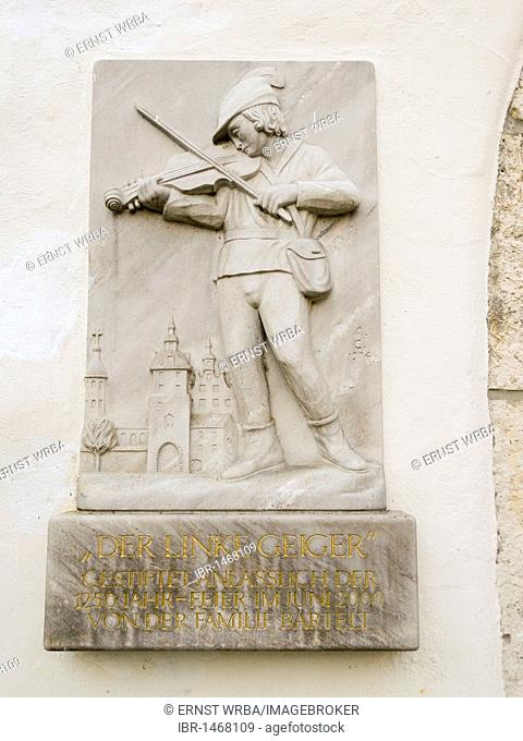 Relief at the city gate, old town of Gundelfingen an der Donau, Bavaria, Germany, Europe